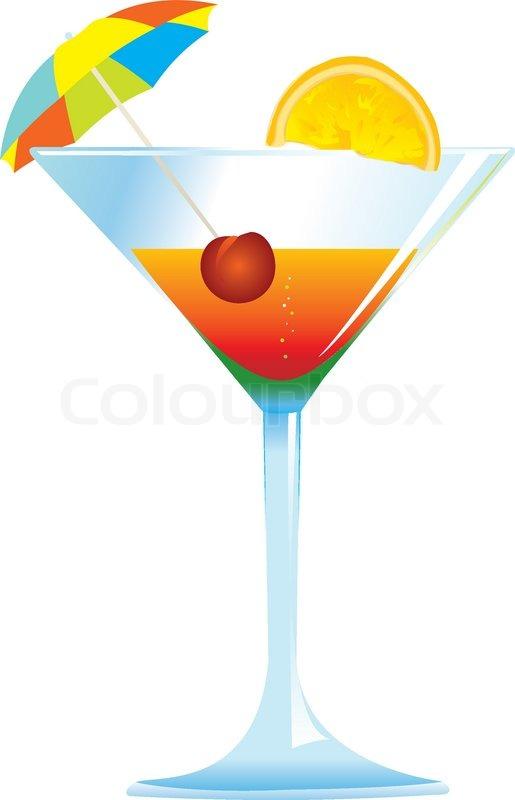 515x800 Dressed Cocktail With Umbrella, Cherry And Orange Slice. Stock