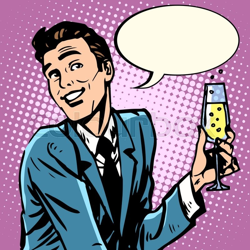 800x800 A Cheerful Man With A Glass Of Champagne Wines Pop Art Retro Style