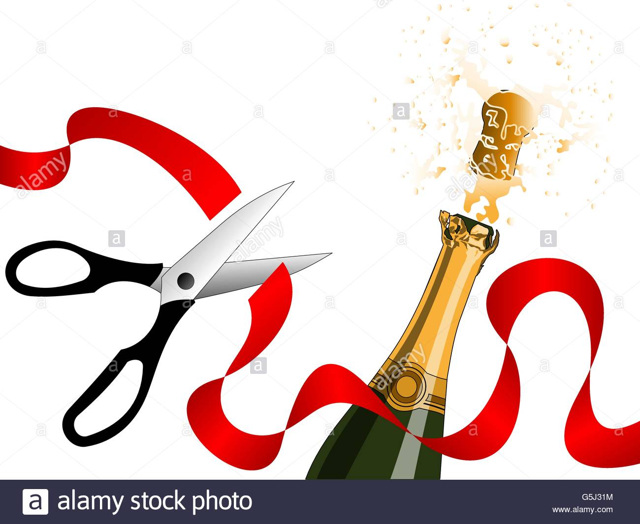 1300x1065 Champagne Splashing And Scissors Cutting Red Ribbon. Concept