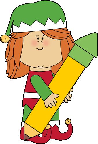 340x500 Christmas Elf Holding A Big Pencil Clip Art