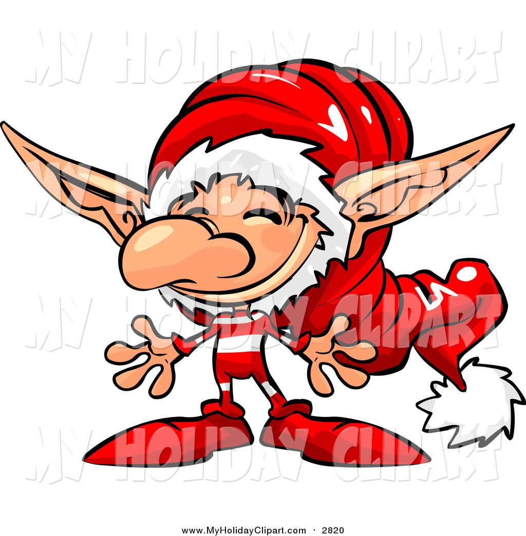 1024x1044 Clip Art Of A Jolly Little Christmas Elf Wearing A Santa Hat By