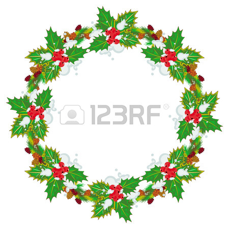 450x450 Holiday Round Garland Decorated With Pine Branch, Snow Flakes