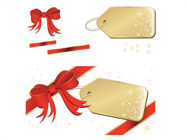 600x450 Golden Tags With Red Ribbon Vector Illustration Free Vector