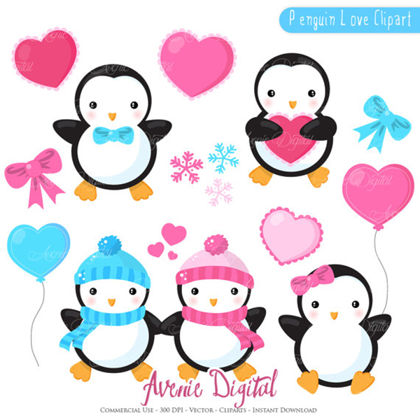 600x600 Valentines Penguins Clipart Scrapbook Printables, Holiday Clip Art