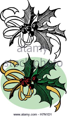 271x470 A Vintage Christmas Holly Sprig With Ribbon And Bow In A Woodblock