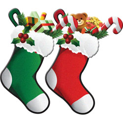250x250 Red And Green Christmas Stockings Cards With Holiday Stockings