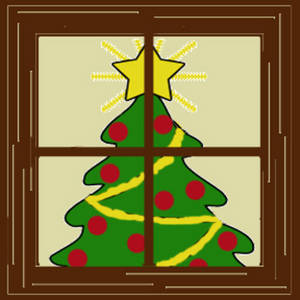 300x300 Clipart Picture Of A Christmas Tree Seen Through A Window
