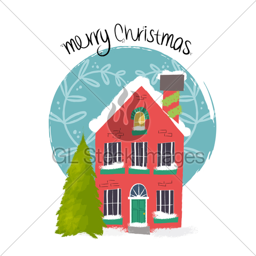 500x500 Merry Christmas House Art With Holiday Decoration Gl Stock Images