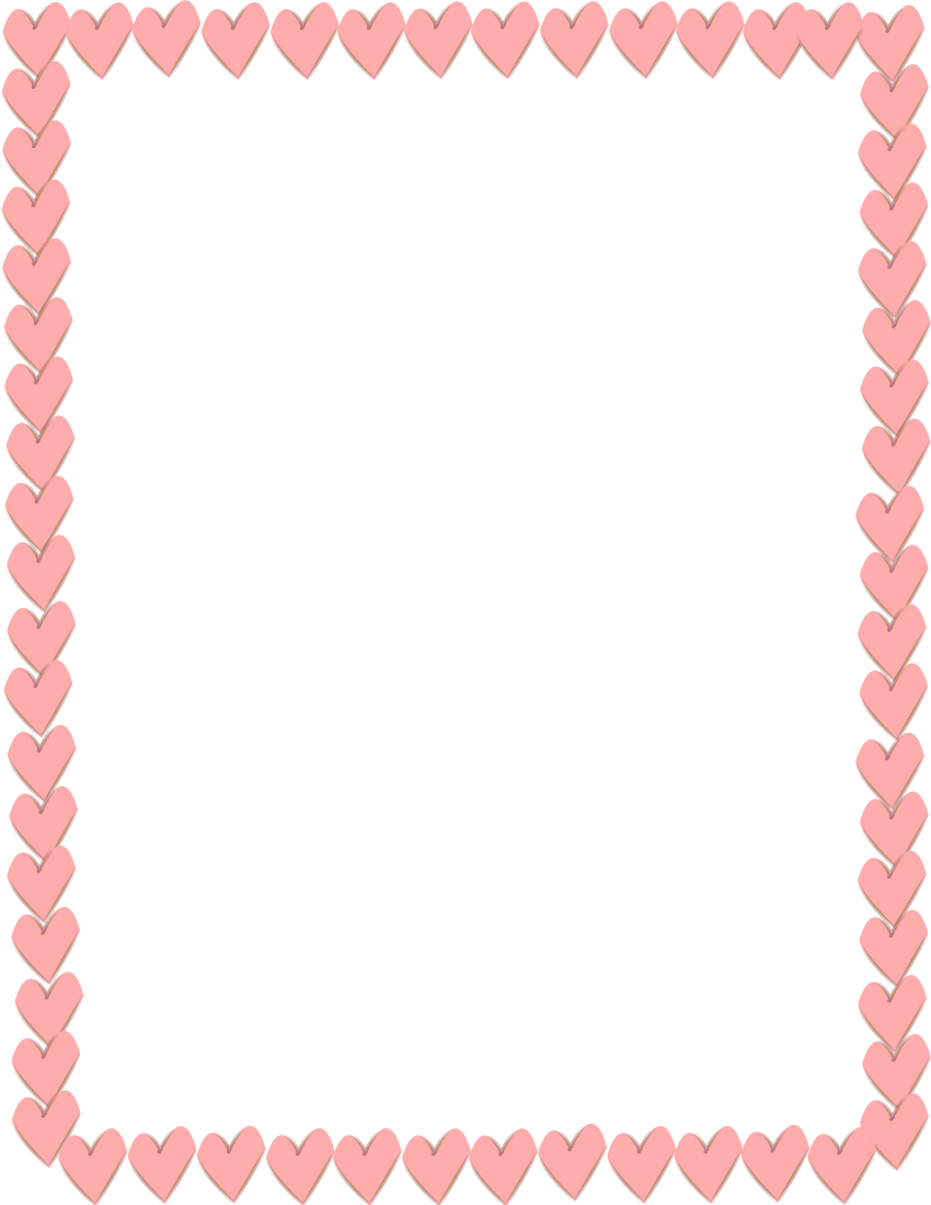 850x1100 Pink Hearts Border Page Frames Holiday Clipart