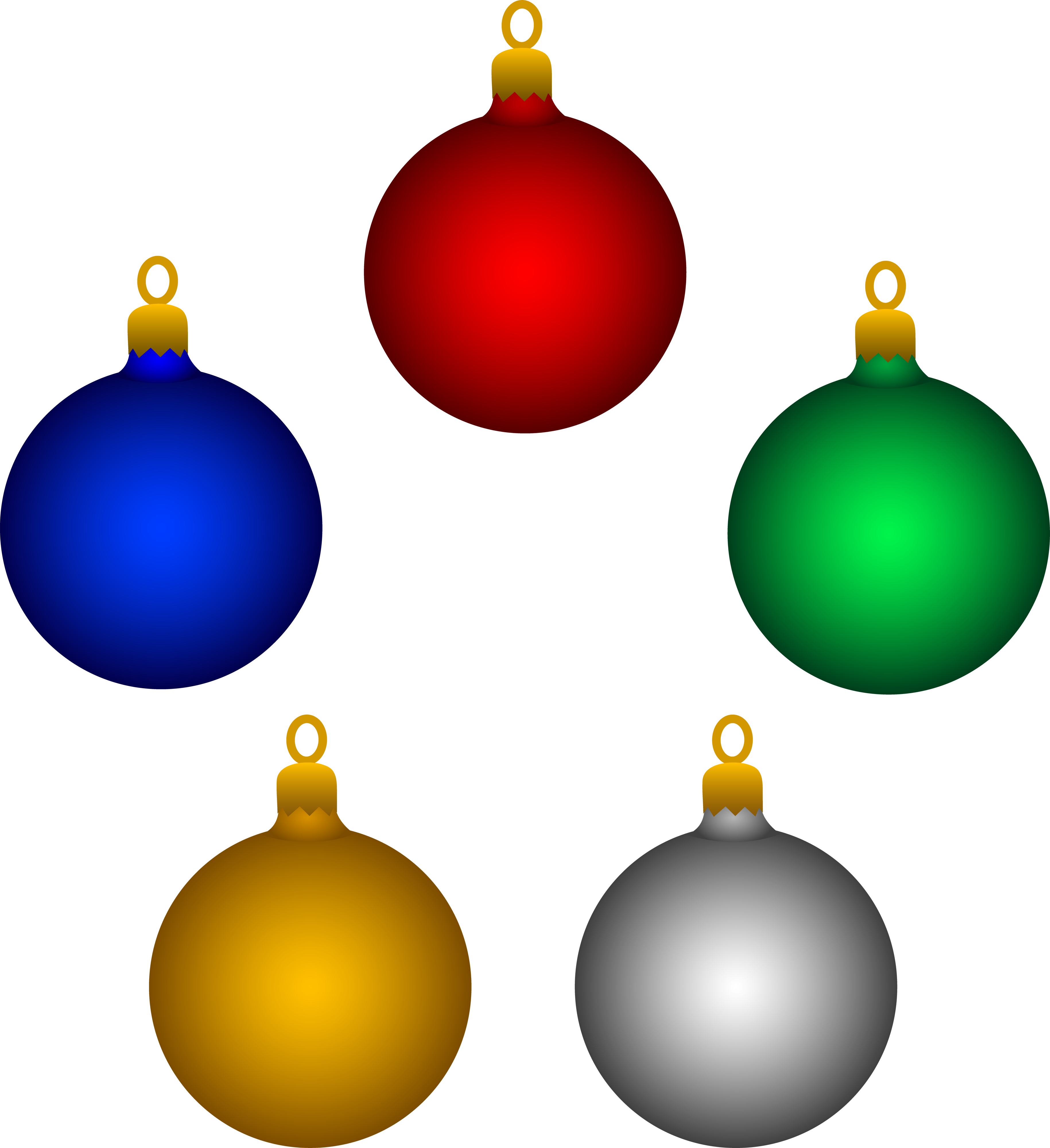 3659x4000 Five Shiny Christmas Tree Ornaments Free Clip Art