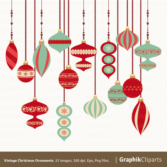 570x570 Vintage Christmas Ornaments Clipart. Christmas Clipart.