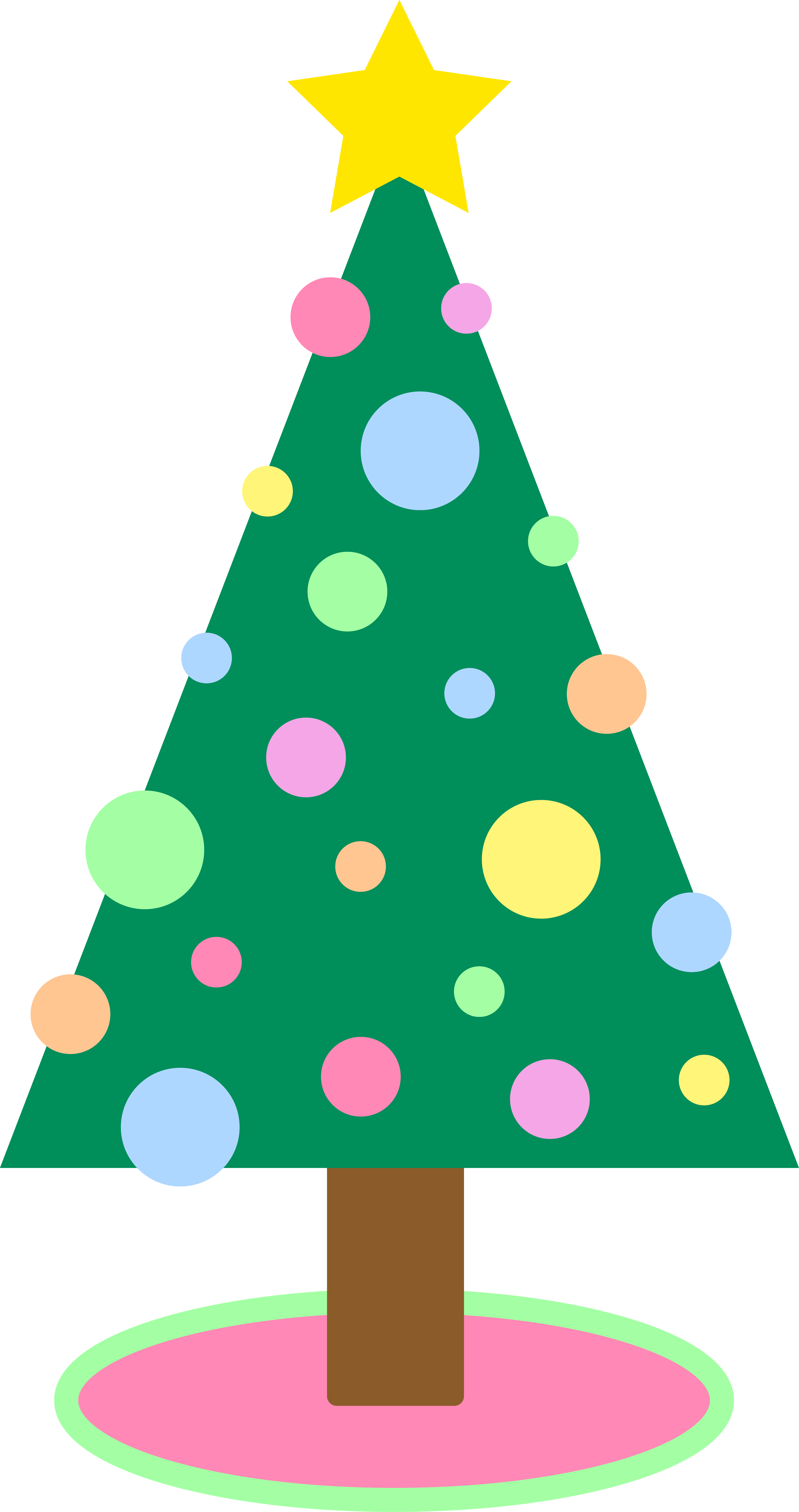 4150x7856 Cute simple pastellored christmas tree free clip art