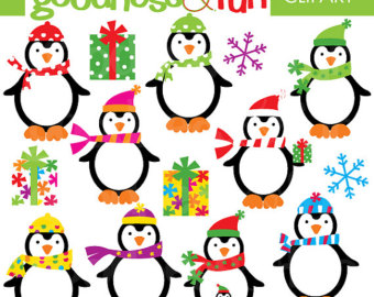 340x270 Christmas Penguin Clipart Penguin Digital Clipart Penguin