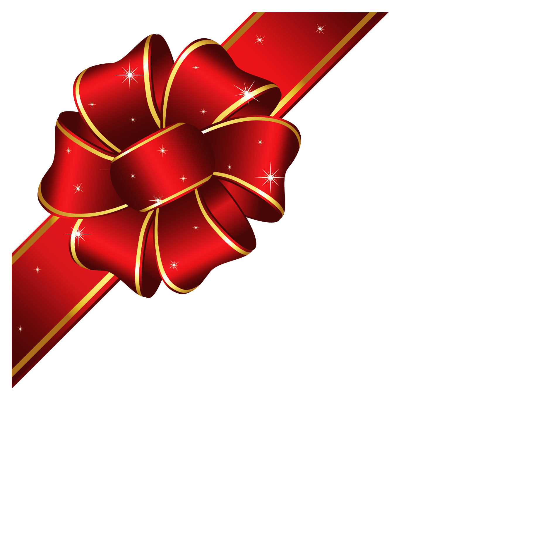 Red Bow with Gold Edging Transparent PNG Image   Gallery ...   Christmas Clipart Ribbons And Bows