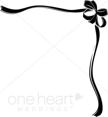 357x388 Black Ribbon Bow Border Ribbon Borders