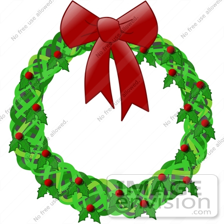 450x450 Holiday Christmas Wreath Decoration Made Of Holly With Red Berries