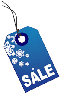 204x315 Holiday sale tag snowflakes blue