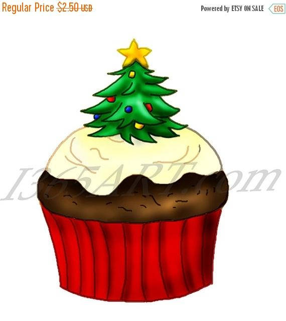 570x640 50% Off Holiday Christmas Cupcake Clipart Christmas Clipart