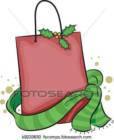 385x470 Clipart Of Christmas Shopping Bag K7988384