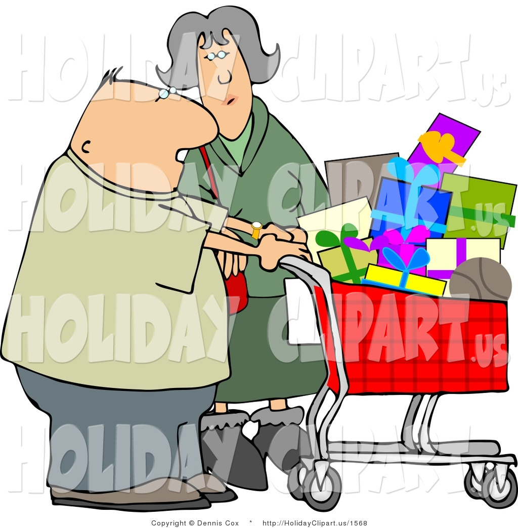 1024x1044 Holiday Clip Art Of An Elderly Husband And Wife Shopping Together