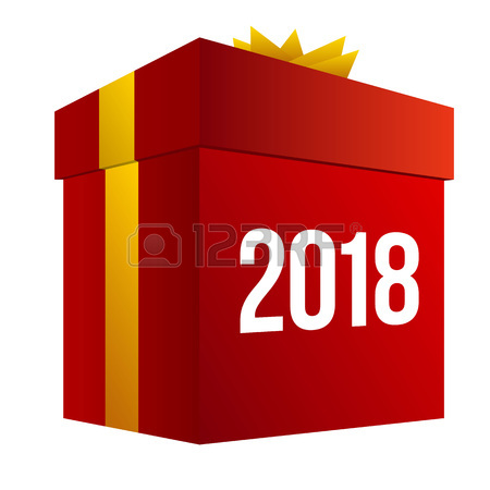 450x450 New Year Shopping. Big Red Present Box With Numbers 2018. Isolated