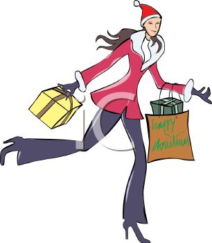 306x350 Royalty Free Clipart Image Woman Christmas Shopping