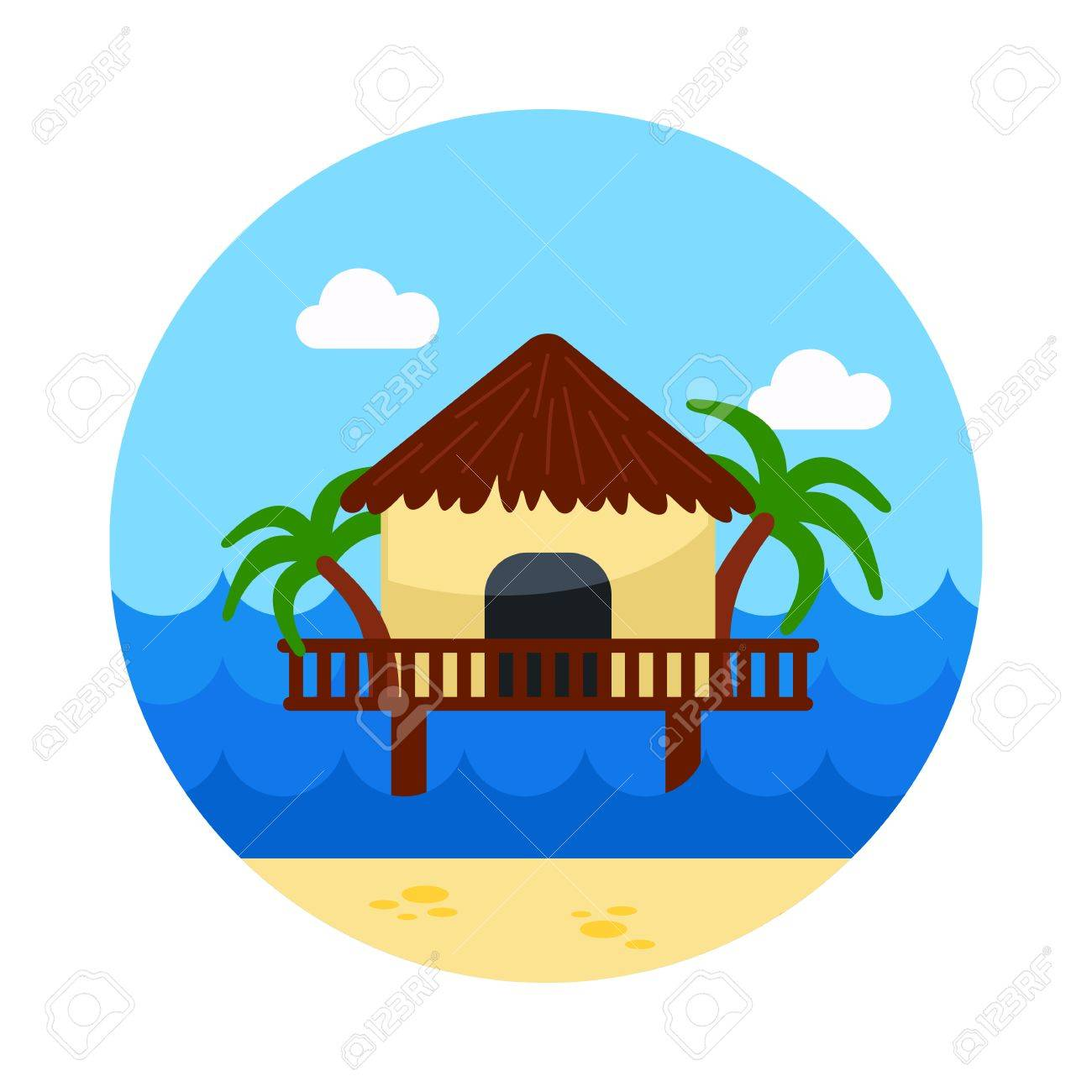 1300x1300 Bungalow With Palm Trees Vector Icon. Beach. Summer. Summertime