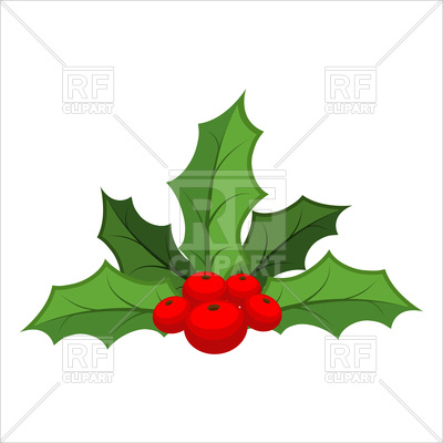 400x400 Mistletoe On White Background, Christmas Red Berry With Green
