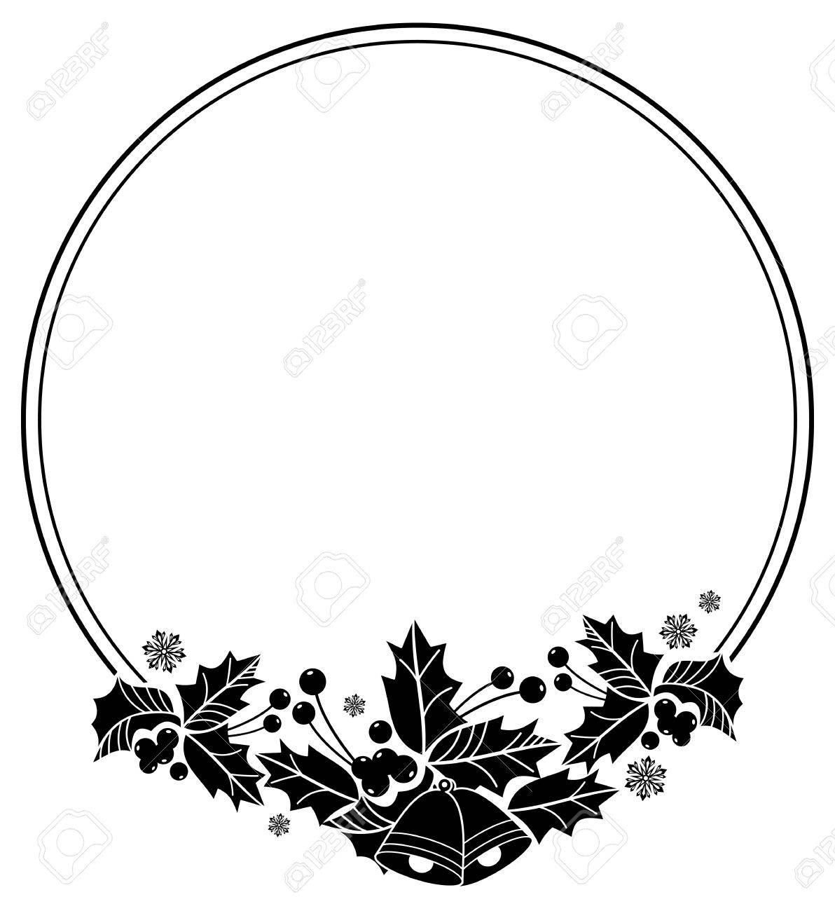 1192x1300 Silhouette Round Frame With Christmas Bell, Holly Berry And Pine