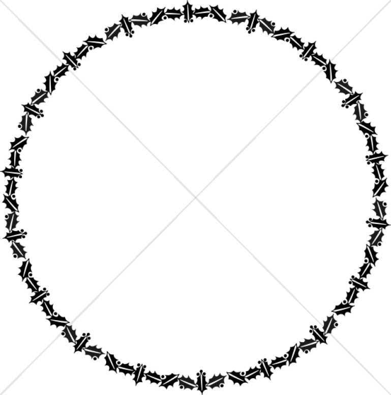 769x776 Circular Holly Border In Black And White Christian Christmas Borders