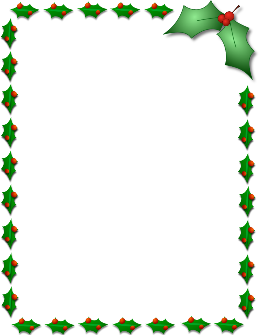 850x1100 Clip Art Borders Holly