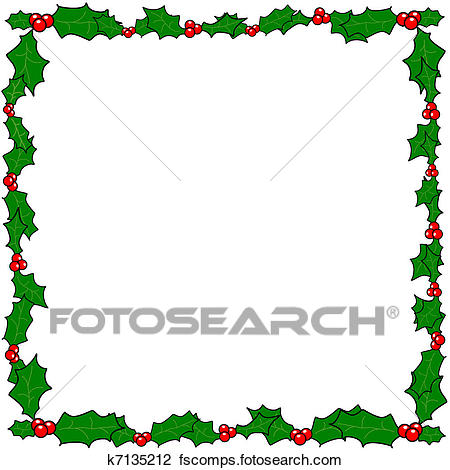 450x470 Clipart Of Christmas Holly Border Frame K7135212