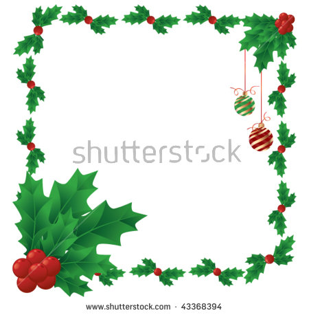 450x458 Mistletoe Clipart Border A Border Of Holly And Berries