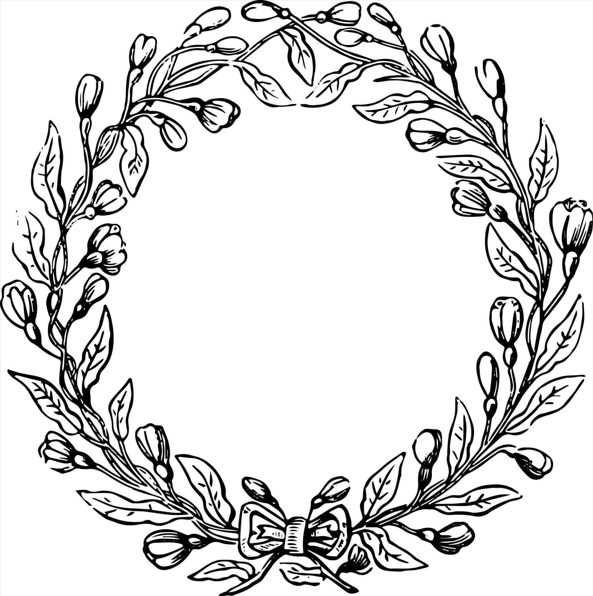 1899x1909 Stock Vector Bow Christmas Wreath Border Black And White Ribbon