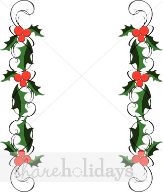 330x388 Traditional Holly Side Borders Holly Clipart