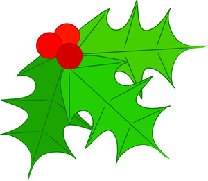 300x261 Free Christmas Clip Art Holly Free Clipart Images 4