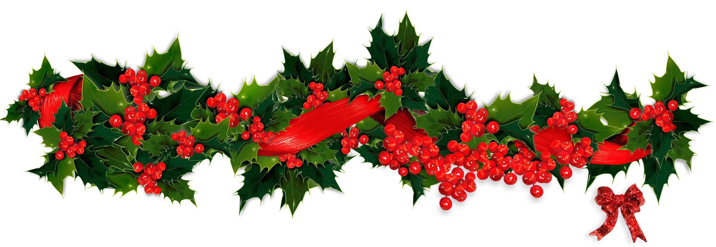 2404x832 Holiday Garland Christmas Garland Clip Art Merry Christmas