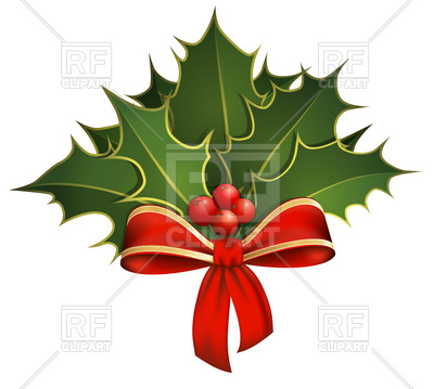 400x359 Christmas Decoration With Holly Branches And Bow Royalty Free