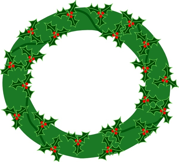 600x542 Evergreen Wreath With Large Holly Clip Art Free Vector In Open