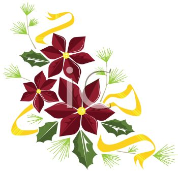 350x347 Royalty Free Clipart Image Poinsettia And Holly Leaf Christmas Design