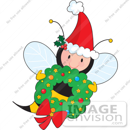 450x450 Christmas Clipart Of A Jolly Christmas Bee Wearing A Santa Hat