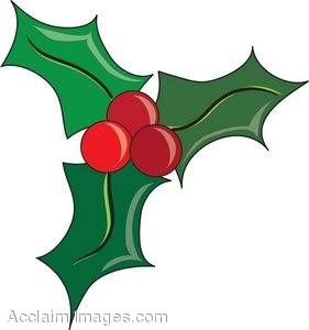 281x300 Clip Art Of Holly Leaves And Berries