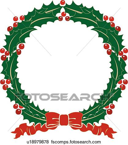 418x470 Clip Art Of Holly Wreath With Red Ribbon U18979878