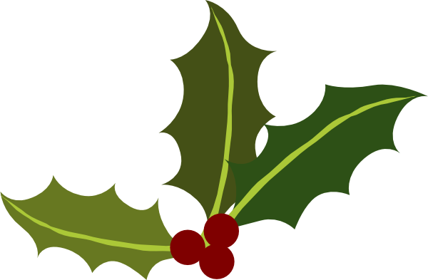600x393 Holly Leaves With Berries Clip Art