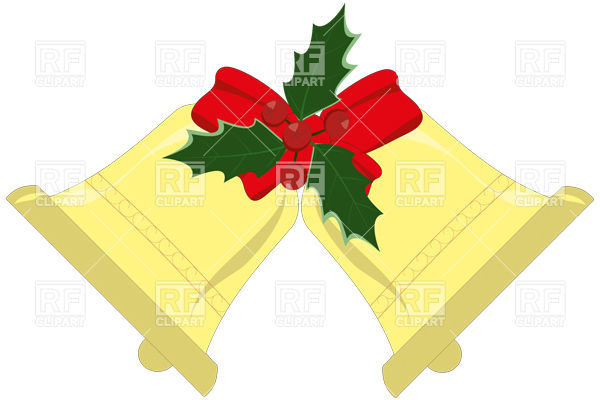 600x400 Yule Bells With Holly Leaves And Berries Royalty Free Vector Clip