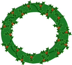 300x271 Evergreen Wreath With Large Holly Clip Art