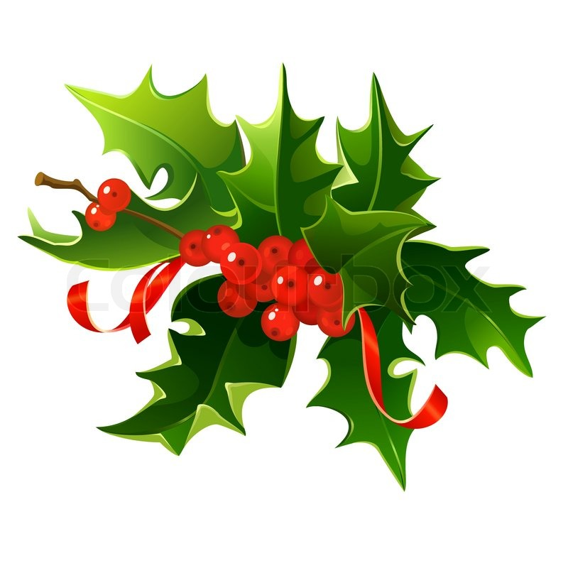 800x800 Free Christmas Clipart Red Ribbon With Holly Image