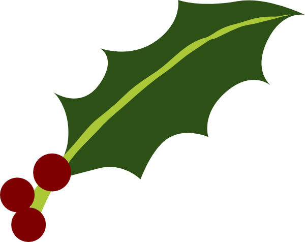 600x476 One Holly Leaf 3 Berries Clip Art
