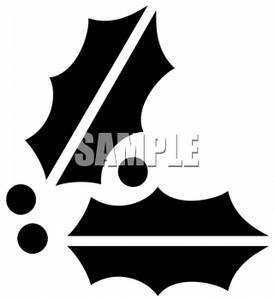 275x300 Black And White Holly Leaf Clip Art