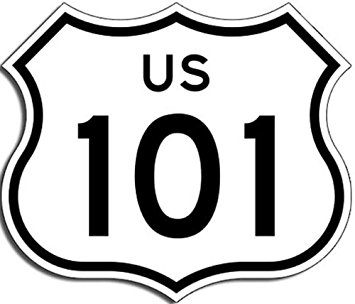 355x304 Us Highway 101 Sign Shaped Sticker (California